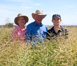 Alison and Peter Campbell (pictured with daughter Ainslie) farm a mixed cropping sheep enterprise