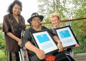 HONOURED: Muriel Burns, of Maclean, Patsy Nagus, of Kyogle, and Mollie Strong, of Byron Bay, were included on the NSW Hidden Treasures Honour Roll at the University Centre for Rural Health in Lismore yesterday.  Doug Eaton