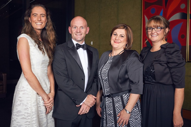 Sophie Anderson (Finalist), Primary Industries Minister Niall Blair, Cindy Cassidy (Winner) and Trudy McElroy (Finalist) at the 2015 NSW-ACT RIRDC Rural Women's Award Gala Dinner & Announcement