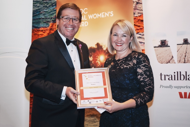 2016 NSW-ACT RIRDC Rural Women's Award Winner Sophie Hansen with Deputy Premier the Honourable Troy Grant MP.