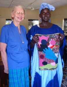 Miriam Miller with local rugmaker in The Gambia