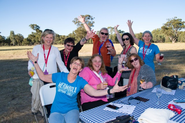 Group of women smiling at the Narrandera Rural Women's Gathering