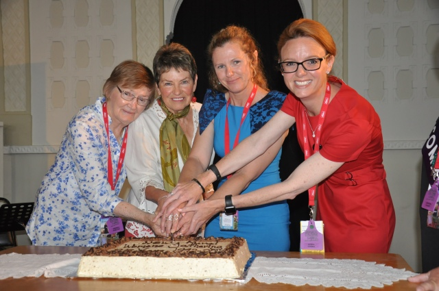 Ronnie Hazelton, Marg Carroll AO, Tammy Galvin & Steph Cooke MP cutting the celebratory cake for the 25th Anniversary of the NSW Rural Women's Gathering.