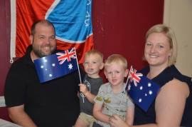 Amanda Johnston with her family at the 2018 Merriwa Australia Day awards ceremony.