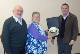 Merriwa's Lenore Taylor being presented with the prestigious Pam Power Award by former Upper Hunter Shire Council General Manager Waid Crocket and Cr Ron Campbell in 2015. Picture: Merriwa Festival of the Fleeces
